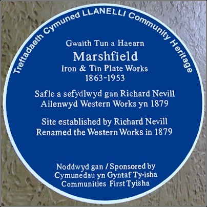 Marshfield Iron & Tin Plate Works blue plaque
