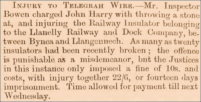 Llanelly County Guardian 1863. Vandalising the electric telegraph was dealt with severely due to the resultant disruption to business. 10s (shillings) was 50p and 22/6 £1.12