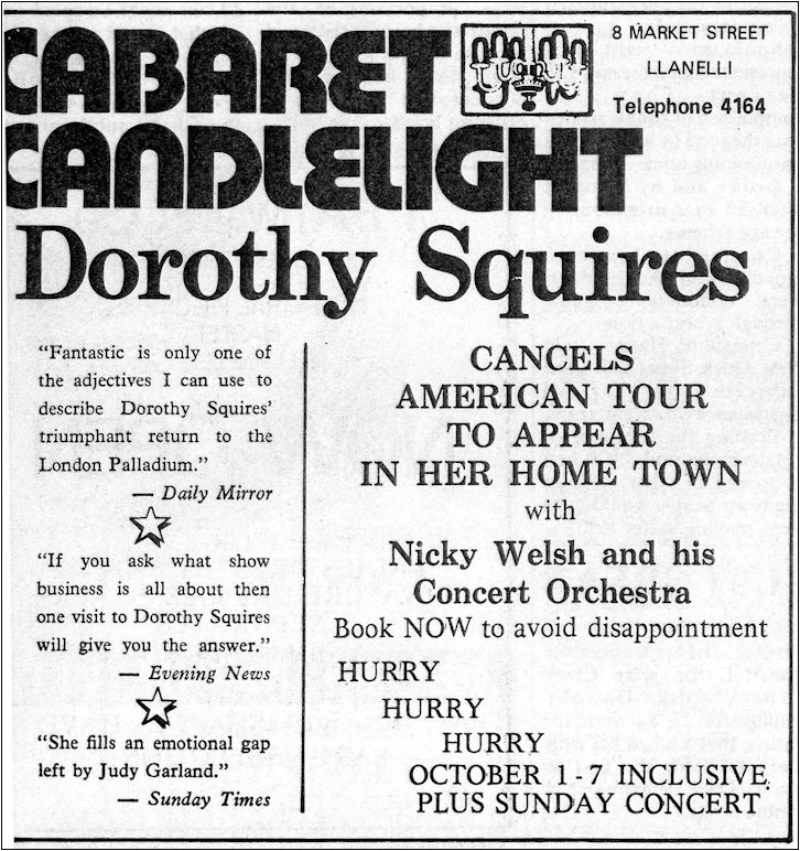 Dorothy Squires Cabaret at Candlelight