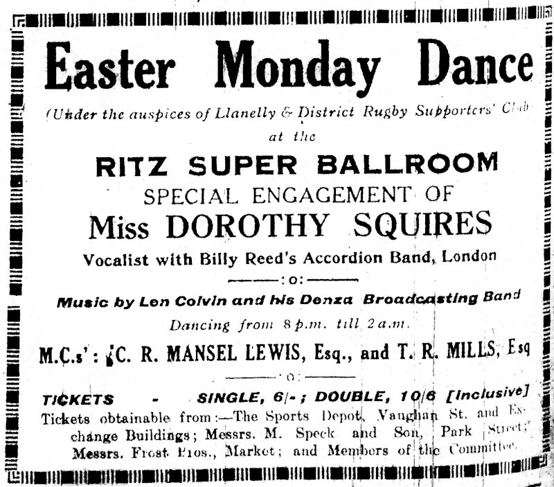 Dorothy Squires at the Ritz Super Ballroom Llanelly