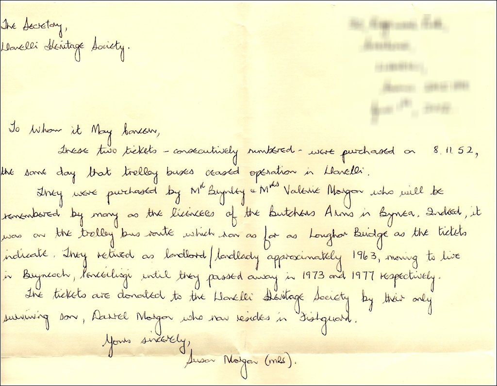 Letter from Mrs Susan Morgan