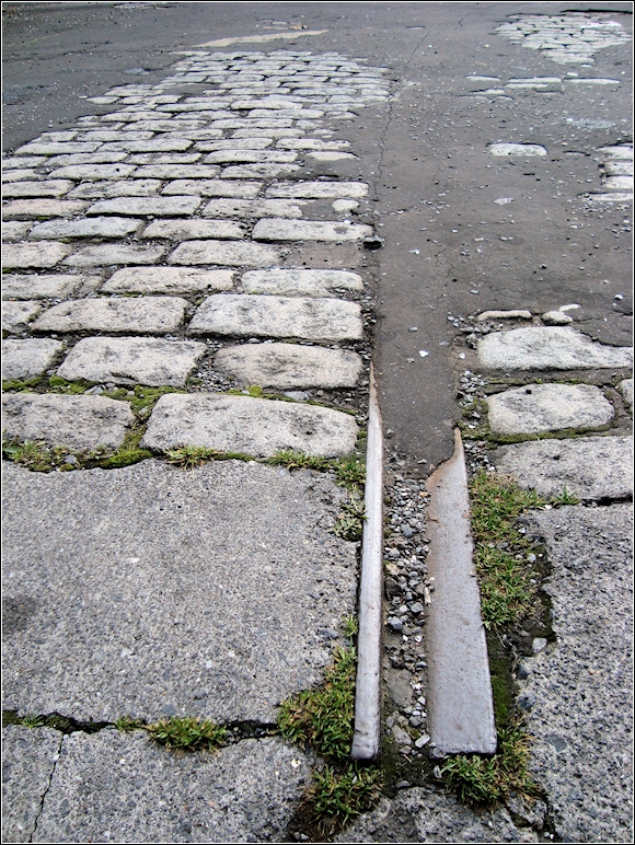 Evidence still exists today of the old tram lines at the bus station in Robinson St.