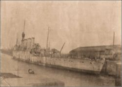 HMS Chester tied up in the North Dock at Llanelli in 1922