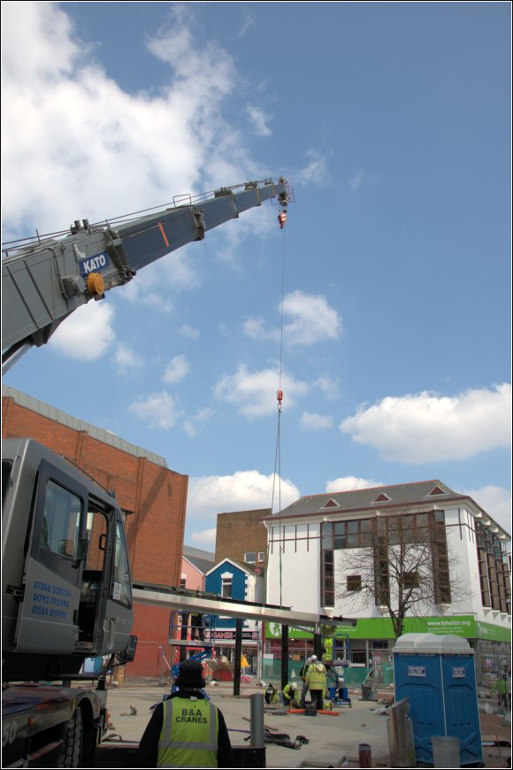 Crane fitting canopy in Stepney Street 28 March 2013