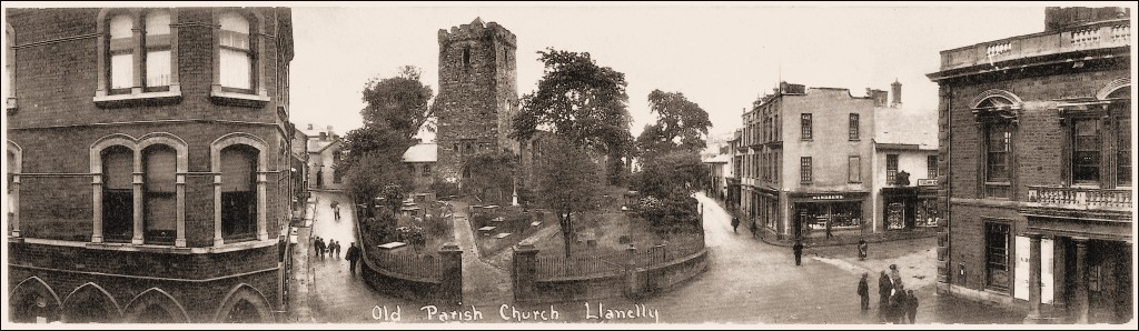 Llanelly Parish Church with Llanelly House to the right showing the Andrews' shop front.
