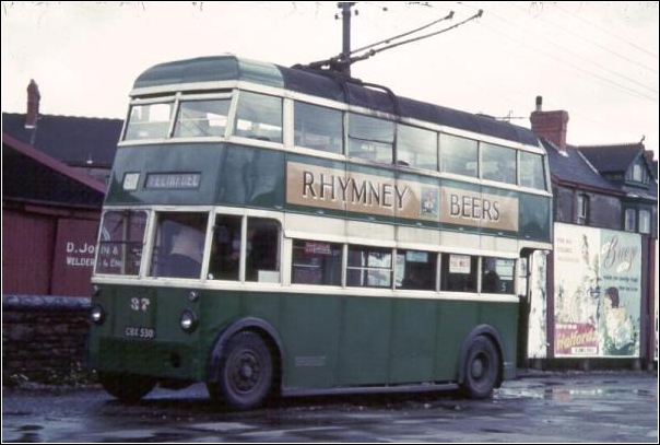 Trolley Bus 1951 in front Llanelli Station with D. John Welder and Blacksmith at rear