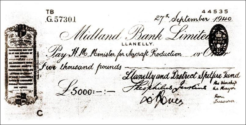 Cheque to H.M. Minister for Aircraft Production
