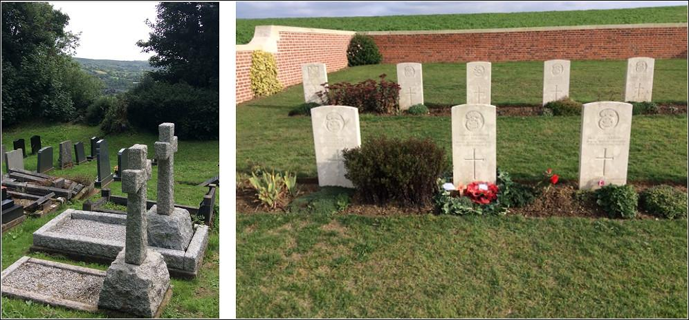 Collins and Thomas family graves in Llanedi churchyard; David Thomas's grave at Point 110 New Military Cemetery, Fricourt - Lloyd family archive