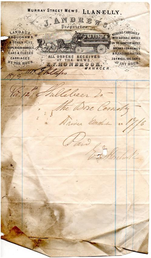 Andrews invoice Nov. 12th 1879. Hire of a Shillibeer, an early omnibus to Box cemetery.