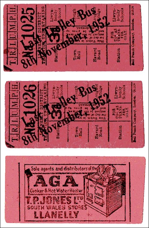 The last Llanelly Trolley Bus tickets 8th. November 1952 showing two tickets with different numbers and the obverse.
