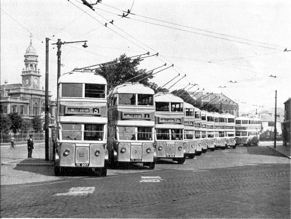 Trolley Bus outside Llanelli Town Hall