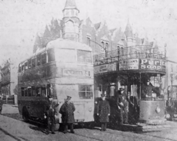 Trolley Bus (left) along side a tram by Greenfield Chapel